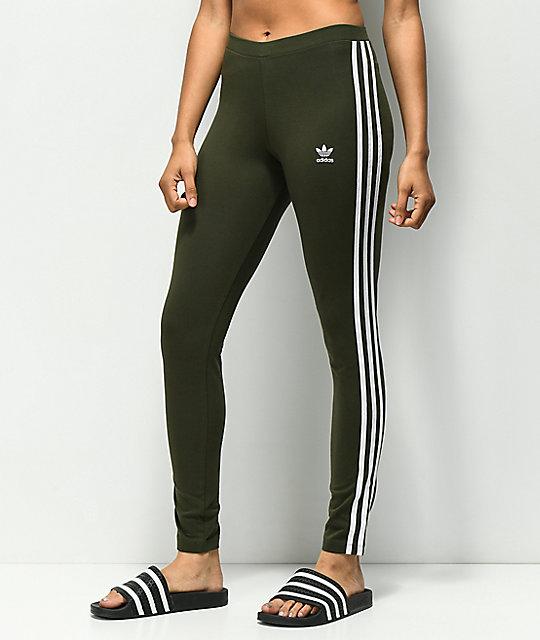 98e0f12d1e3 adidas 3 Stripe Olive Leggings   Zumiez