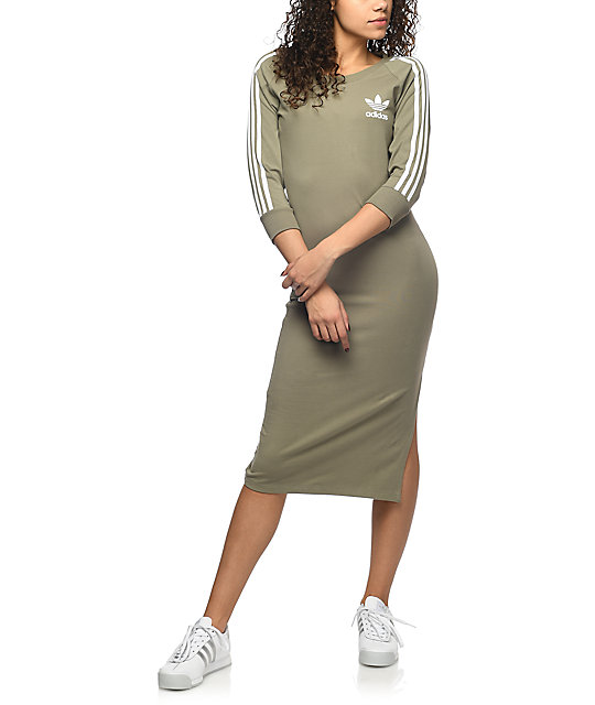 adidas 3 Stripe Olive Midi Dress | Zumiez