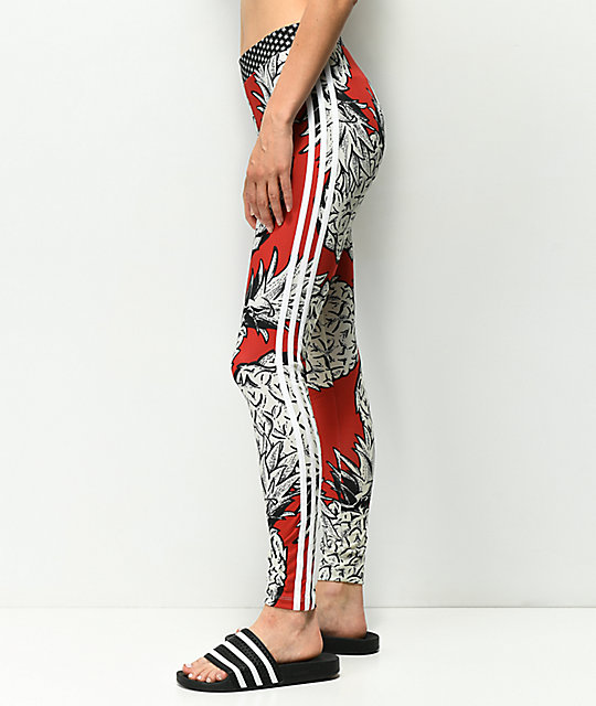 adidas 3 Stripe Pineapple Red Leggings