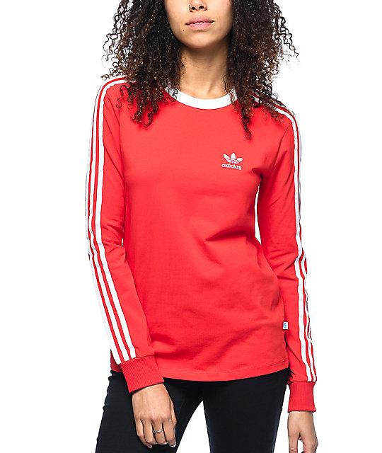 6976e5172f adidas 3 Stripe Red Long Sleeve T-Shirt | Zumiez