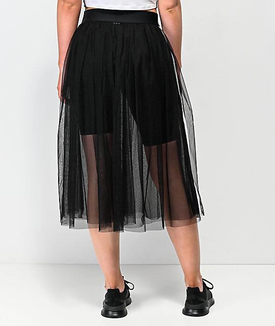 36006b8b2 adidas 3 Stripe Tulle Black Skirt