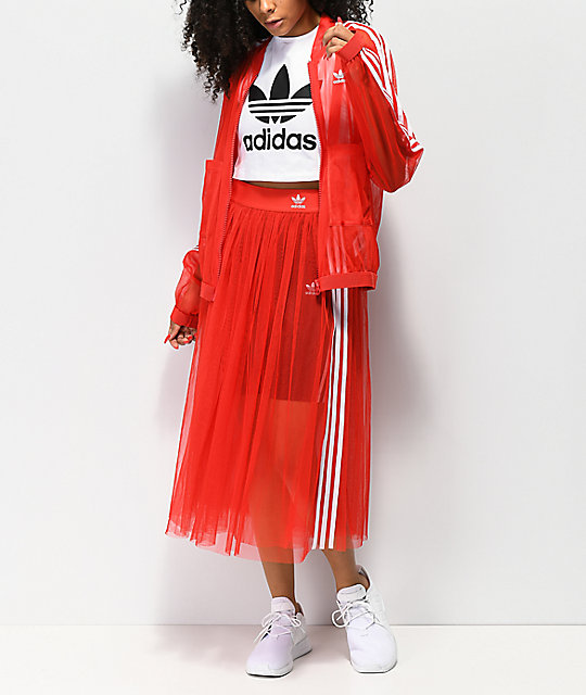 adidas 3 Stripe Tulle Red Track Jacket