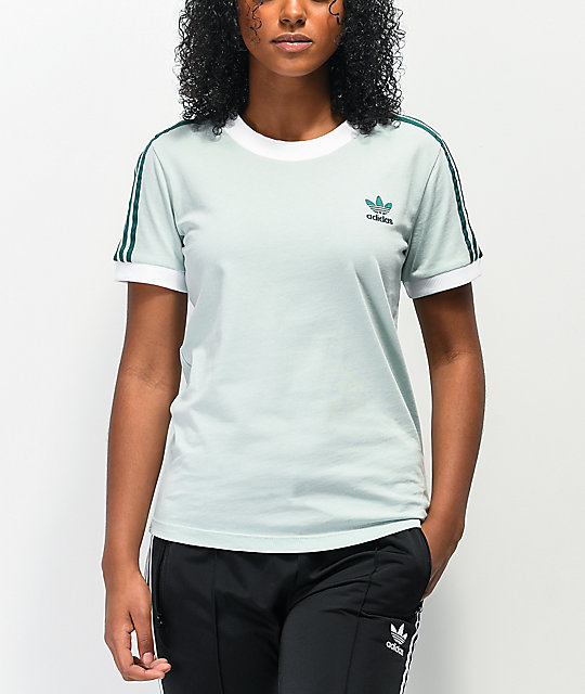 adidas 3 Stripe Vapour Green T-Shirt