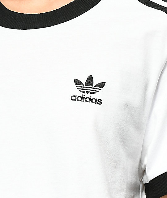 adidas 3 Stripe White T-Shirt