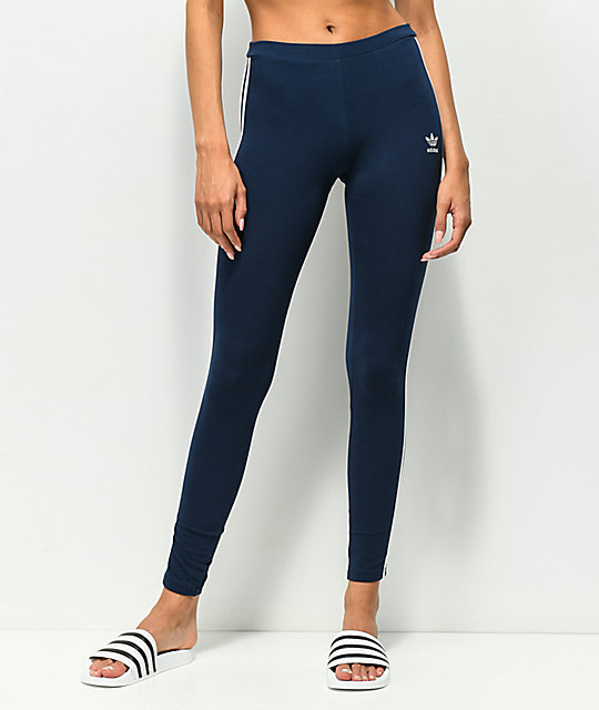 adidas 3 Stripe leggings azul marino