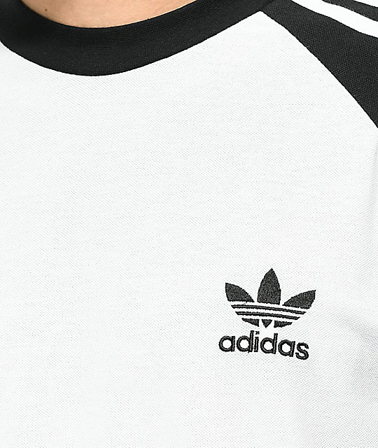adidas 3-Stripes White & Black Long Sleeve T-Shirt
