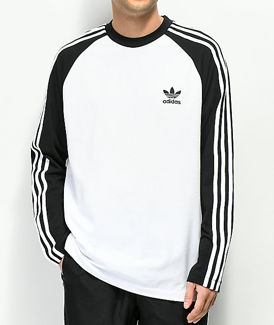 9c93e9f61 adidas 3-Stripes White & Black Long Sleeve T-Shirt | Zumiez