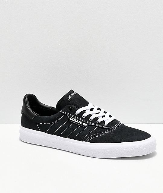 super popular 3de1e 1e8c2 adidas 3MC Black  White Contrast Canvas Shoes  Zumiez