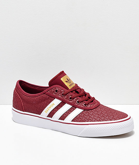 huge selection of ee327 1b00e adidas Adi-Ease Daewon Burgundy, White  Gold Skate Shoes  Zu