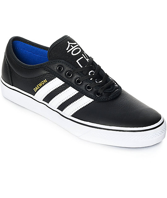 uk availability 5553f 9d285 adidas AdiEase Daewon Black  White Leather Shoes  Zumiez