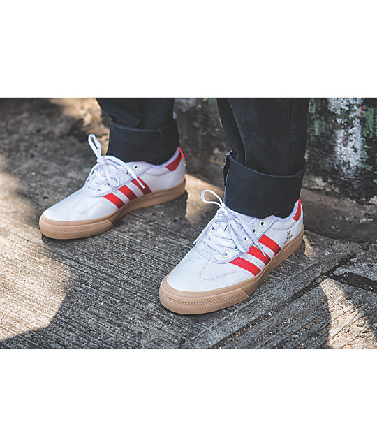 cheap for discount 84efa e808f ... adidas AdiEase Universal White  Scarlet Leather Shoes