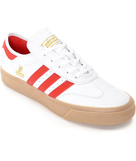 competitive price 1cc71 7b49b adidas AdiEase Universal White  Scarlet Leather Shoes  Zumie