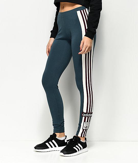 4754300685fe1 adidas Adibreak Midnight Blue & Burgundy Stripe 3 Stripe Leggings | Zumiez