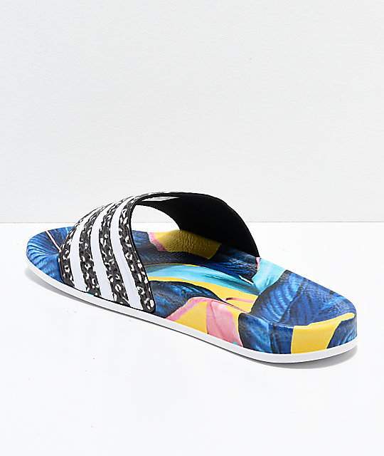 adidas Adilette Blue, Yellow & Black Slide Sandals