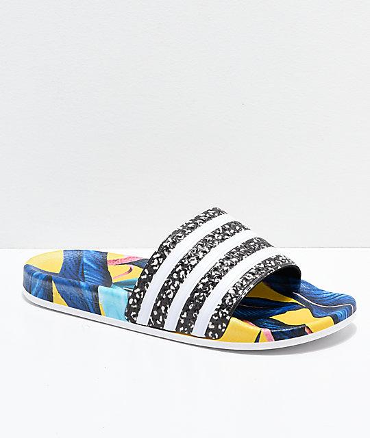 Adidas Adilette Blue Yellow Black Slide Sandals Zumiez