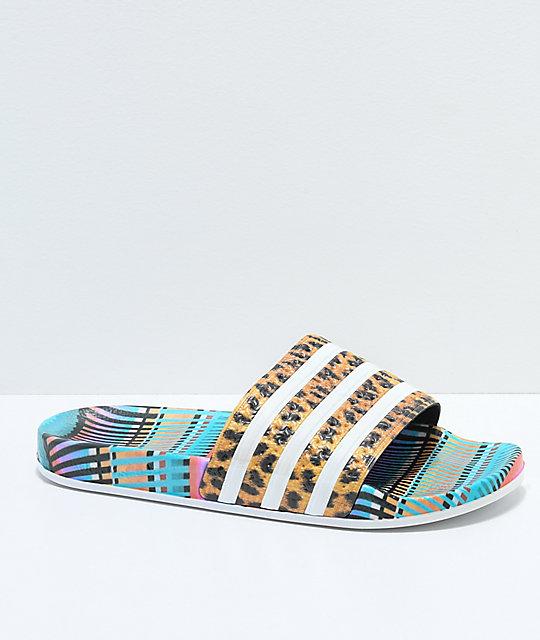 Adidas Adilette Leo Stripe Slide Sandals Zumiez