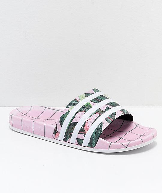 huge selection of de749 211c1 adidas Adilette Pink, Green  White Slide Sandals  Zumiez