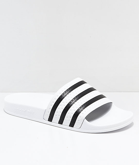 adidas Adilette White & Black Slide Sandals