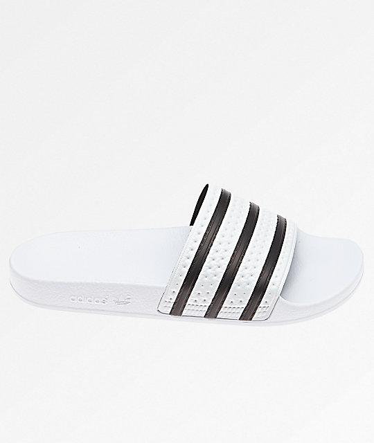 33622c233dd8d adidas Adilette White   Black Slide Sandals