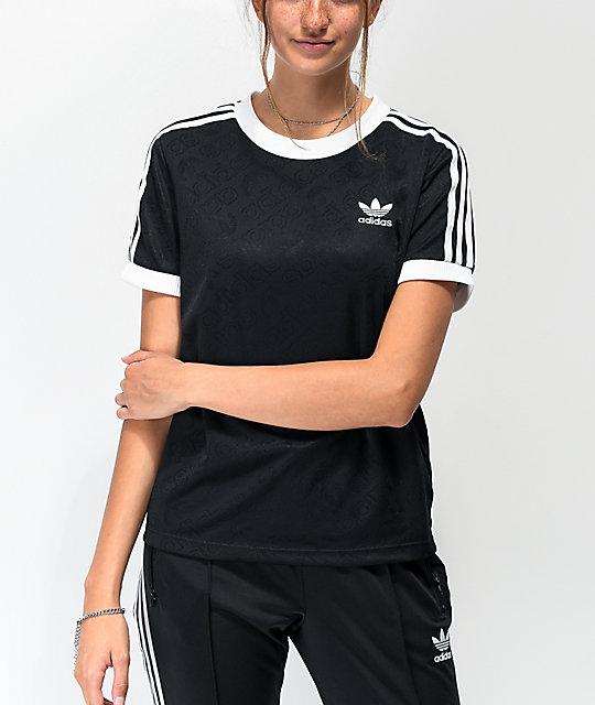 adidas Allover camiseta negra y blanca de 3 rayas