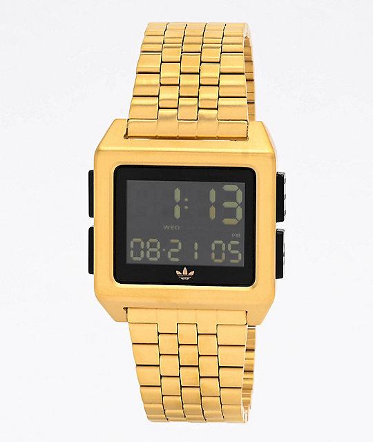 rumor enlace Bajo mandato  adidas Archive M1 Gold & Black Digital Watch | Zumiez