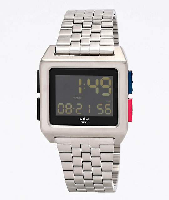 adidas Archive M1 Silver, Blue & Red Digital Watch