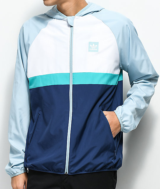 adidas BB Grey, White & Blue Windbreaker Jacket