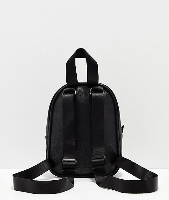 ... adidas Black   Gold Faux Leather Mini Backpack ...