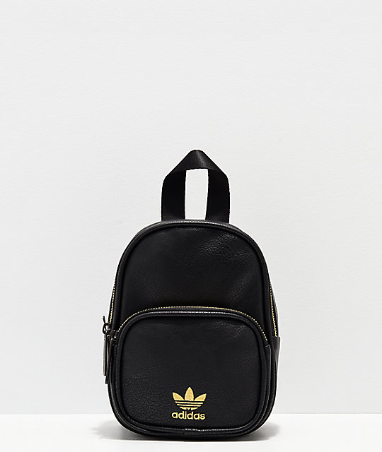 07199da19b adidas Black & Gold Faux Leather Mini Backpack | Zumiez