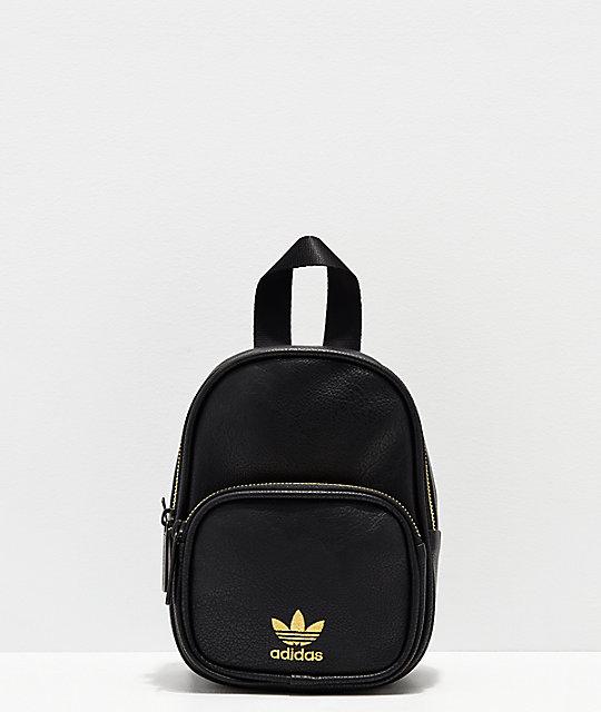75128cc5c22c adidas Black & Gold Faux Leather Mini Backpack