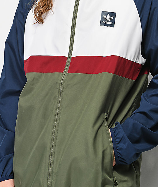564d3358b000 adidas Blackbird Navy & Green Packable Windbreaker Jacket