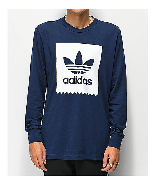 adidas Blackbird Navy & White Long Sleeve T-Shirt