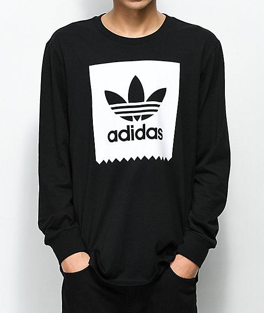adidas black and white long sleeve shirt
