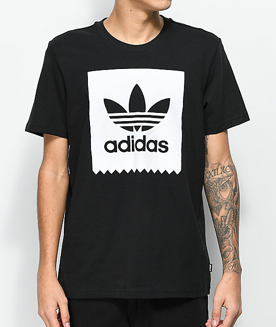 adidas Blackbird Solid Black & White T-Shirt ...