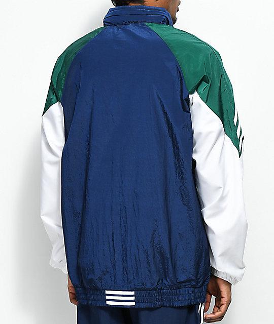 Adidas Blue Green White Lightweight Track Jacket Zumiez