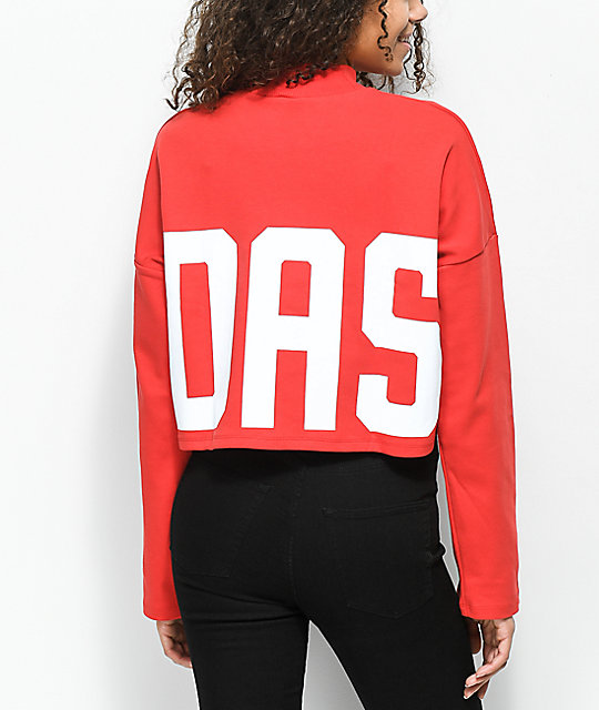 Adidas Bold Age Red Mock Neck Crop Sweater Zumiez