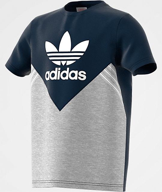 c42594ae2 adidas Boys J M FL Navy, Heather Grey & White T-Shirt | Zumiez.ca
