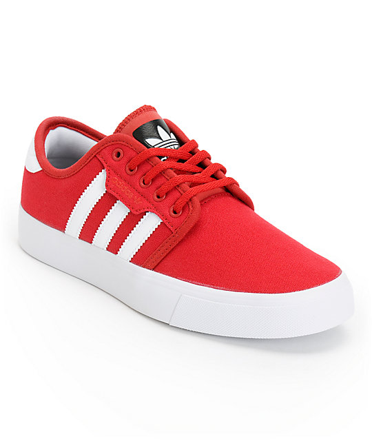 adidas Boys Seeley Red & White Shoes ...