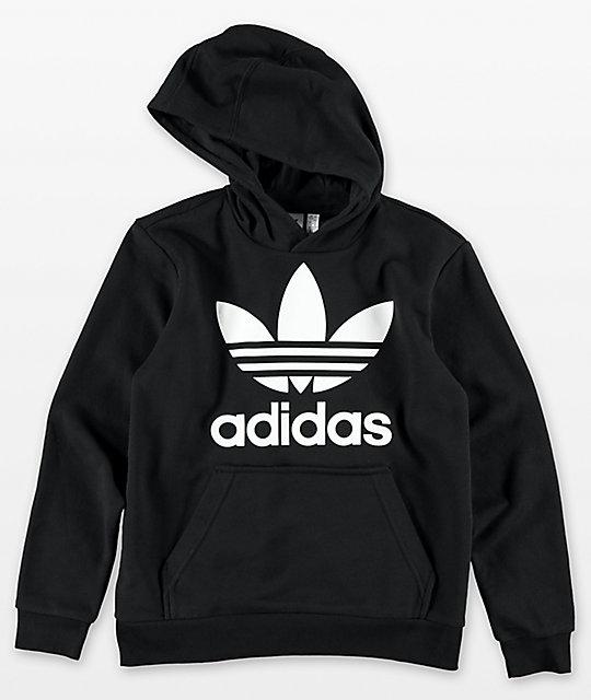 f8f0524dc1796 adidas Boys Trefoil Black Hoodie | Zumiez