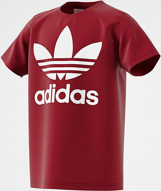 de19e8038 adidas Boys Trefoil Burgundy T-Shirt | Zumiez.ca