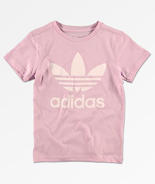 4903a34022d9c9 adidas Boys Trefoil Pink T-Shirt