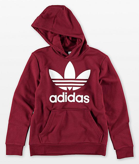 adidas Boys Trefoil Red Hoodie  c89d1e176b40