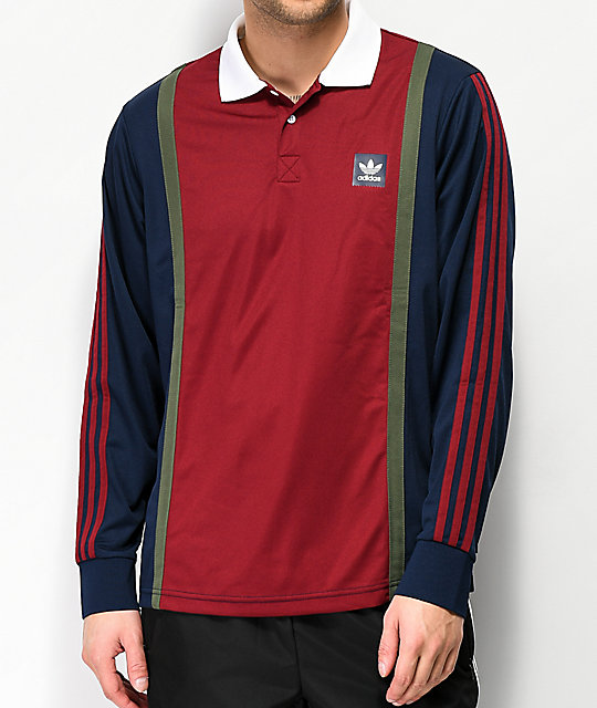 adidas Burgundy, Navy & Green Rugby Jersey