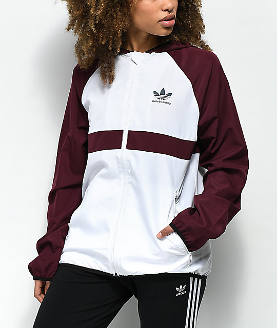 adidas Burgundy & White Windbreaker Jacket