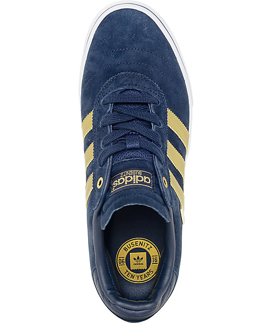 online retailer 1c840 3f89c ... adidas Busenitz Vulc ADV 10 Year Anniversary Navy  Gold Shoes ...