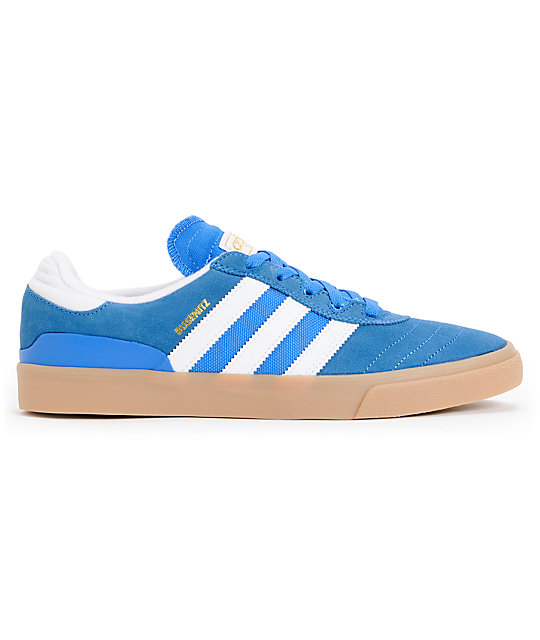 adidas Busenitz Vulc Bluebird, White, & Gum Shoes