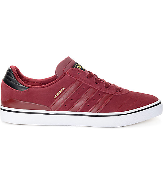 adidas Busenitz Vulc Burgundy & White Suede Shoes