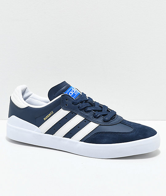 reputable site 30e64 cc3c1 adidas Busenitz Vulc RX Navy  White Shoes  Zumiez
