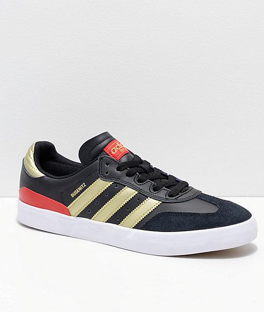 wholesale dealer 65603 607ef adidas Busenitz Vulc Samba RX zapatos en negro, rojo y dorado ...
