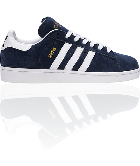 order online attractive price great quality adidas Campus II Navy & White Suede Shoes | Zumiez